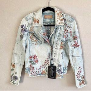 🆕 BLANKNYC Studded Embroidered Denim Moto Jacket